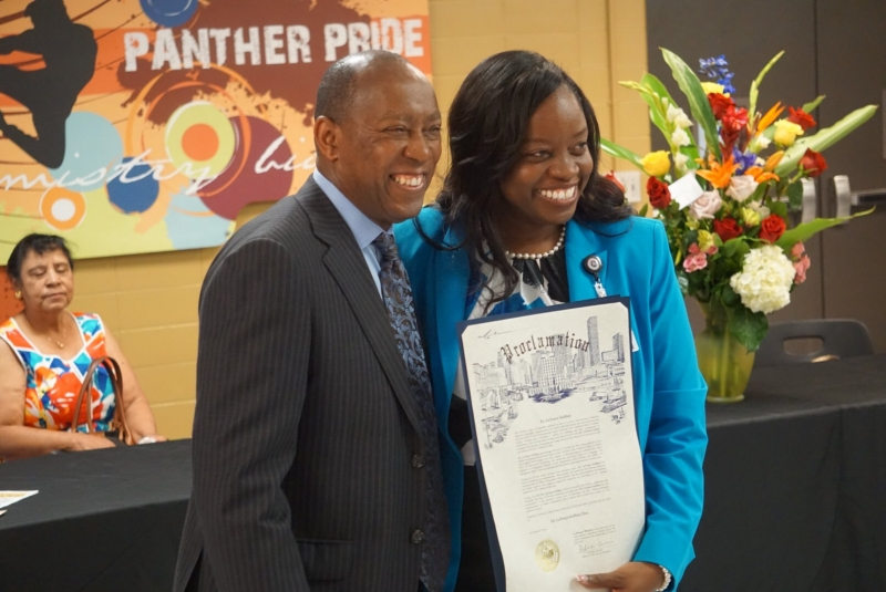 Aldine ISD Superintendent Dr. LaTonya Goffney Receiving a City of Houston Proclamation